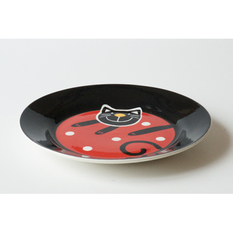 Desertní talířek Veselá kočka červená