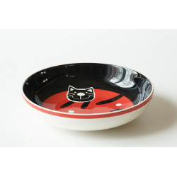 Hluboký talíř Veselá kočka červená