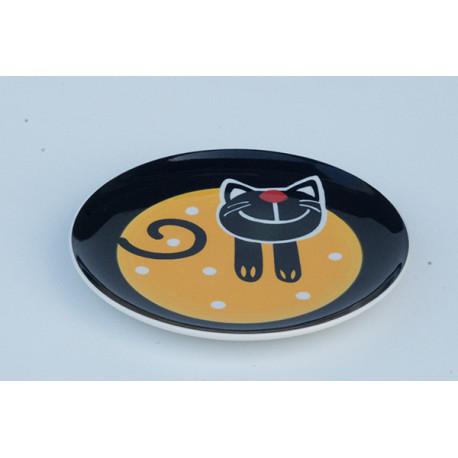 Desertní talířek Veselá kočka, 20 cm, Barva Žlutá