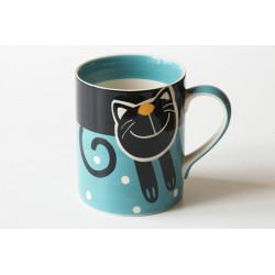 Hrnek 0,6l Veselá kočka modrá