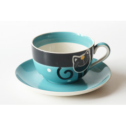 Čajová sada 0,5l Veselá kočka modrá