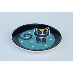 Desertní talířek Veselá kočka modrá