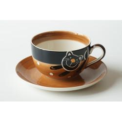 Čajová sada 0,5l Veselá kočka hnědá