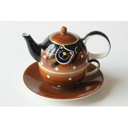 Tea for One 0,4l, 0,25l Veselá kočka hnědá