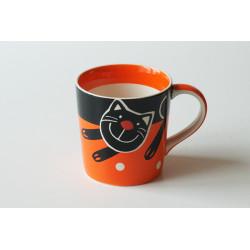 Hrnek Veselá kočka, 400 ml, Barva Oranžová
