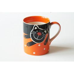 Hrnek 0,6l Veselá kočka oranžová
