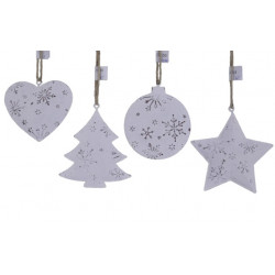 Ozdoby vánoční, různé, bílá, 9 cm