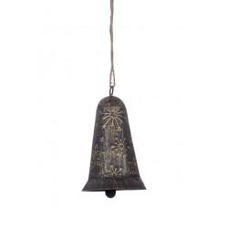 Zvonek, šedo-zlatá patina, 11 cm