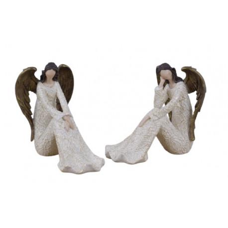 Anděl Bea, bílá, sedící, 15 cm, ASS