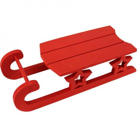 Dřevěné sáňky červené