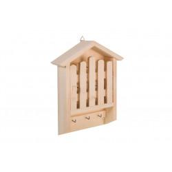 Dřevěný věšák na klíče - domeček s plotem
