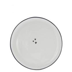 Talíř dezertní TŘI SRDÍČKA, černá, 19 cm