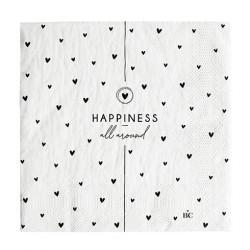 Ubrousky HAPPINESS ALL AROUND, bílá, srdíčka, 20 ks
