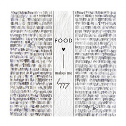 Ubrousky FOOD MAKES ME HAPPY, bílá, 20 ks