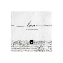 Ubrousky LOVE TO SHARE WITH YOU, bílá, 20 ks