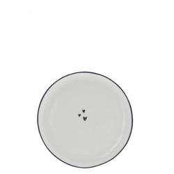 Dezertní talíř 3 SRDÍČKA černá, 16 cm