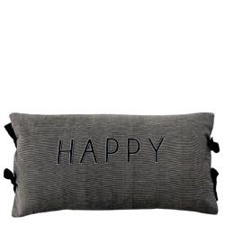 Polštář HAPPY, černá, 35x70 cm