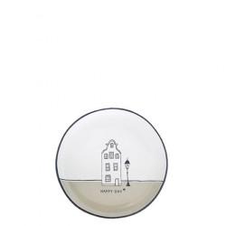 Talířek na čajový sáček HAPPY DAY, béžová, 9 cm