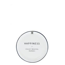 Talířek na čajový sáček HAPPINESS, černá, 9 cm