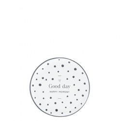 Talířek na čajový sáček GOOD DAY, tečky, černá, 9 cm