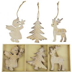 Dřevěné vánoční dekorace, 6ks