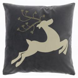 Vánoční dekorativní polštář Reindeer tmavě šedý