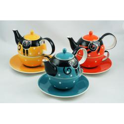 Tea for One 0,4l a 0,25l, Veselá kočka mix barev, sada 3ks B