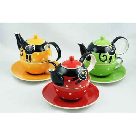 Sada Tea for One, 3 ks, Veselá kočka