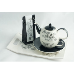 Tea for One 0,4l a 0,25l s podnosem 31x18cm a čajem 50g Andělika