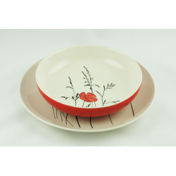 Sada talířů Louka červená