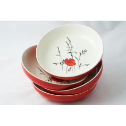 Hluboké talíře Louka červená, 4ks