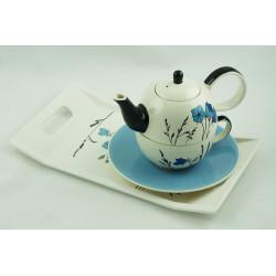 Tea for One 0,4l a 0,25l s podnosem 31x18cm Louka modrá