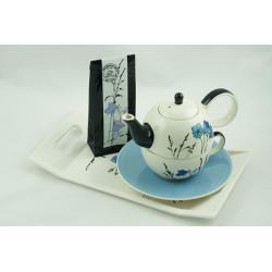 Tea for One 0,4l a 0,25l s podnosem 31x18cm a čajem 50g Louka modrá