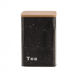 Dóza plech/dřevo 9,5x9,5x14 cm TEA MRAMOR