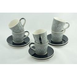 Sada Espresso hrnků 0,18l s podšálky Snow flower šedá, černé podšálky, 6ks