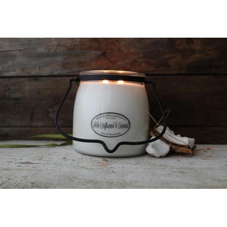 MILKHOUSE CANDLE White Driftwood & Coconut vonná svíčka BUTTER JAR 2-knotová (454 g)