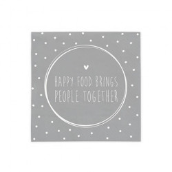 Ubrousky Happy Food Brings People Together, šedá, 20 ks