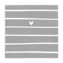 Ubrousky srdce s proužky, šedá, 20 ks