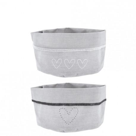 Plátěný košík na pečivo, srdce, šedá