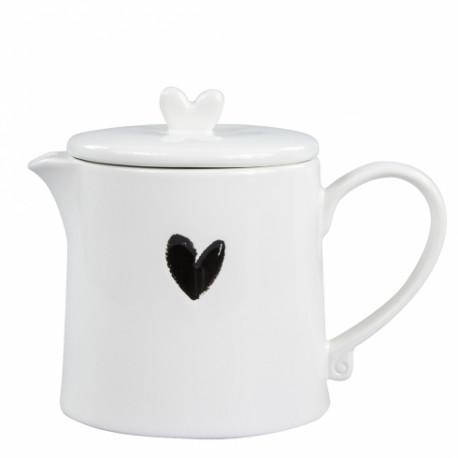 Konvička na čaj se srdíčkem, 0,75 l, černá