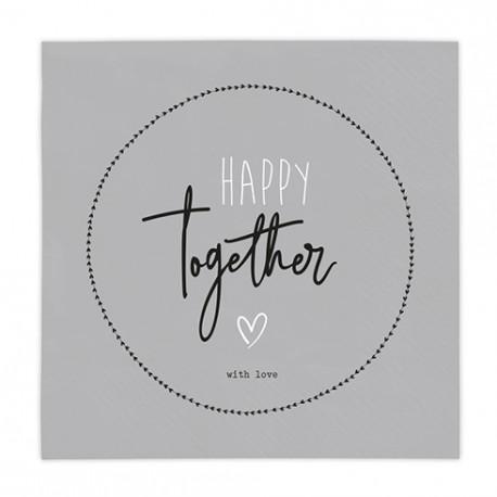 "Ubrousky ""Happy together with love"", šedé, 20 ks"