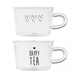 Sklenice na čaj HAPPY TEA, srdce, černá, 10x7 cm