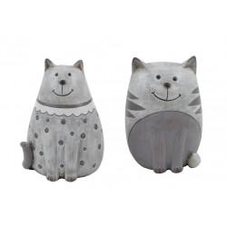 Dekorace kočička, šedá, velká