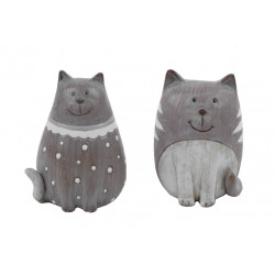 Dekorace kočička, tmavě šedá, malá
