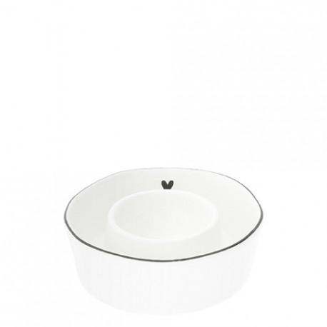 Stojánek na vajíčko, SRDCE, černý lem, 9x2,5 cm