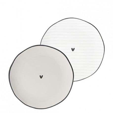Talíř dezertní, SRDÍČKO, bílá, šedá, 13 cm