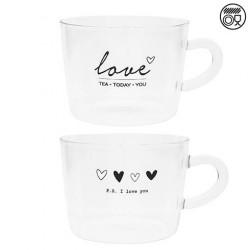 Sklenice na čaj, sklo, LOVE, PS I LOVE YOU, černá, 10x7 cm