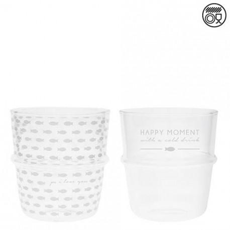 Sklenice HAPPY MOMENT, rybička, bílá, 8,5x9 cm