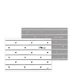 Prostírání SRDCE, bílá, šedá, 49x34 cm