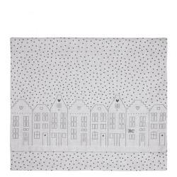 Napron domečky s puntíky, šedá, 50x160 cm